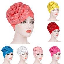 Мусульманская шляпа шапочки шапки Хемо блестящий блеск тюрбан хиджаб бандана; повязка на голову покрытие волос аксессуары для женщин тюрбан элегантный цветок Z7