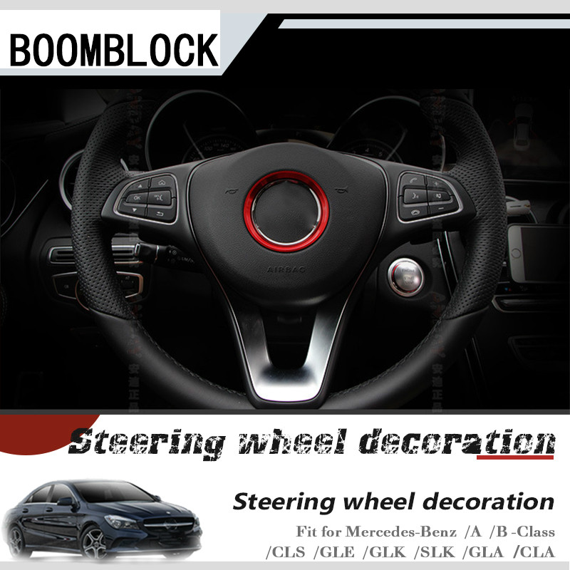 Car Styling AMG For Mercedes W204 W205 W211 A B C E CLS GLE GLK SLK GLA CLA Class Steering Wheel Ring Stickers Accessories image