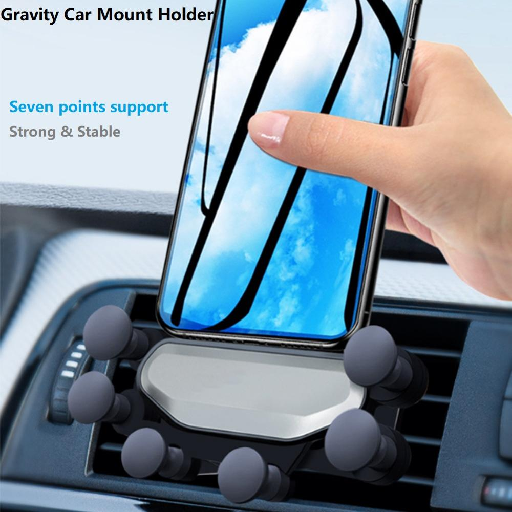 Gravity Car Phone Holder for Samsung S10 5G Universal Air Vent Mount Seven-Point Folding Clip Gravity Bracket For iPhone Huawei
