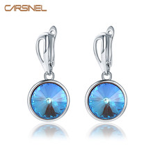CARSINEL Brand Luxury Round Design Tourmaline Color Earrings Women Wedding Party Jewelry Rose Gold CZ Hoop Earrings ER0642(China)