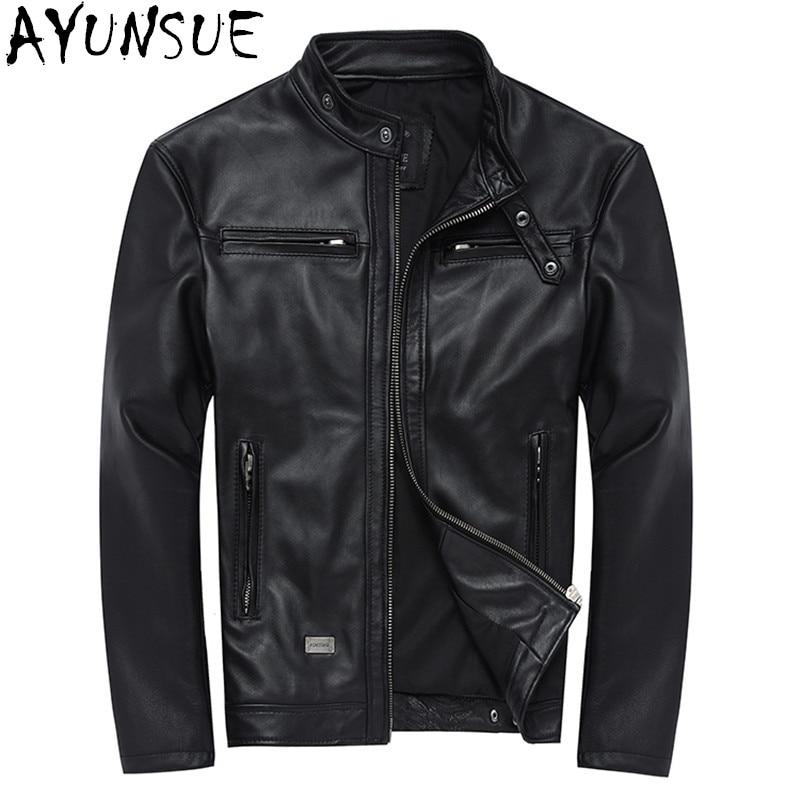 AYUNSUE 100% Genuine Leather Jackets Mens Sheepskin Coat Chaqueta Cuero Hombre Leather Jacket Motorcycle Coats Plus Size WXF046