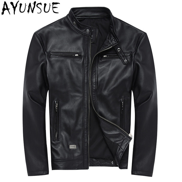 7fbe761b7d6 AYUNSUE 100% Genuine Leather Jackets Mens Sheepskin Coat Chaqueta Cuero  Hombre Leather Jacket Motorcycle Coats
