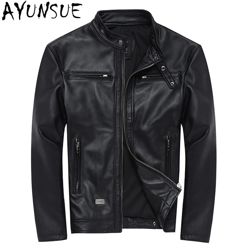 AYUNSUE 100% ของแท้หนังแจ็คเก็ต Mens Sheepskin Coat Chaqueta Cuero Hombre เสื้อหนังรถจักรยานยนต์ Coats Plus ขนาด WXF046-ใน เสื้อโค้ทหนังแท้ จาก เสื้อผ้าผู้ชาย บน   1