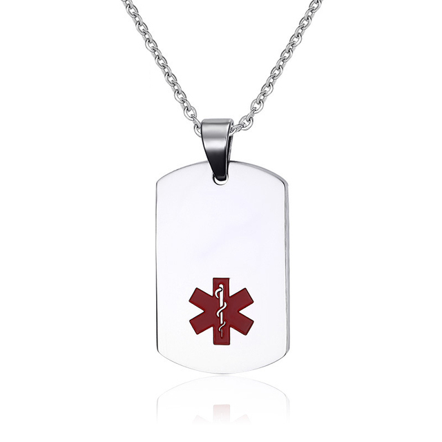 US $8 98 |2017 New Silver Tone Stainless Steel Medical Alert ID Tag Pendant  Necklace, Diabetic Penicillin Allergy Medical Alert Necklace-in Pendant