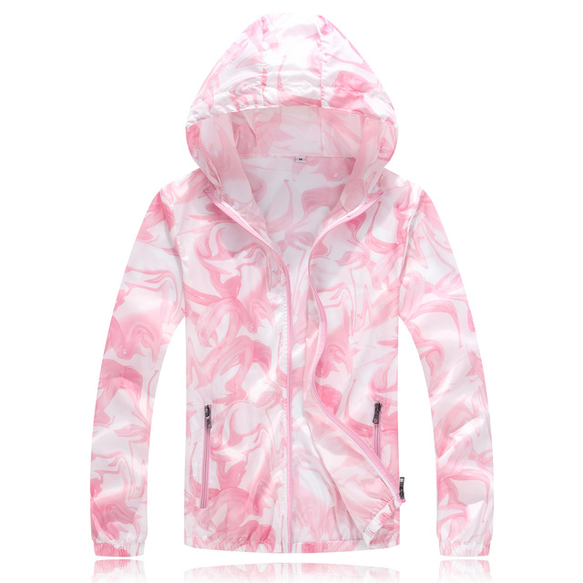 2018 Summer Fashion  Sunscreen Thin Windbreaker Fast Dry Sun Proof Transparent Jacket Big Size S-4xl Print Beach Outwear Db-807