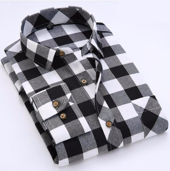Nuova Moda Camicia Di Flanella Controllo Casuale In Bianco E