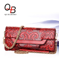 2017 QUBABOBO Brand Chinese Style Women Chain Bags PU Leather Shoulder Bag Embossed Flower Day Clutch Red Flap Stella Bag