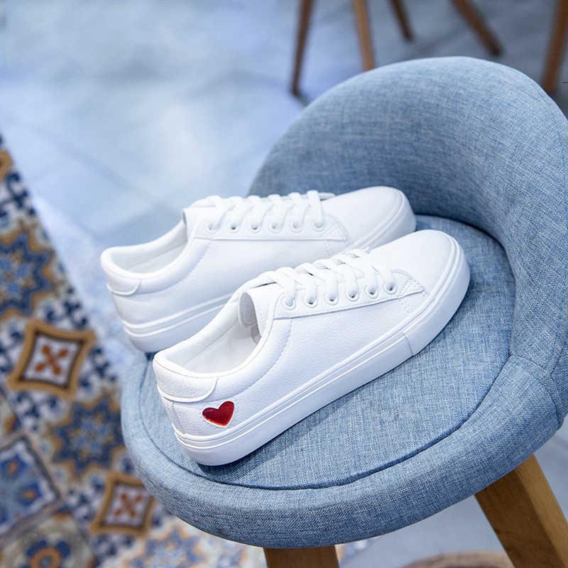2019 ผู้หญิงใหม่รองเท้าแฟชั่น Vulcanize รองเท้า Pu หนังรองเท้าสีขาวสบายๆ Zapatillas Mujer รองเท้าผู้หญิงรองเท้าผ้าใบ EUR 36 -42