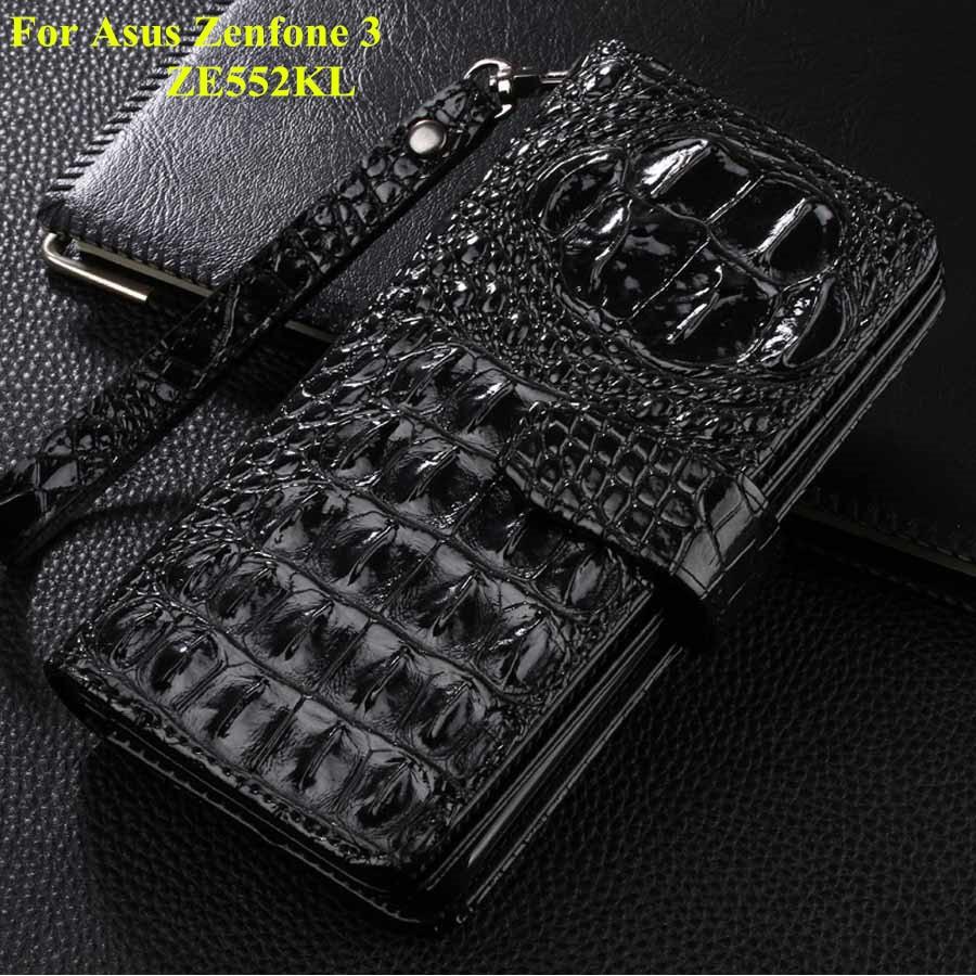imágenes para Nuevo Para El Asus Zenfone 3 ZE552KL Cubierta de la Caja de Lujo Del Cocodrilo Flip Casos de Cuero Del Teléfono Para Asus Zenfone 3 Ze552KL Billetera caso
