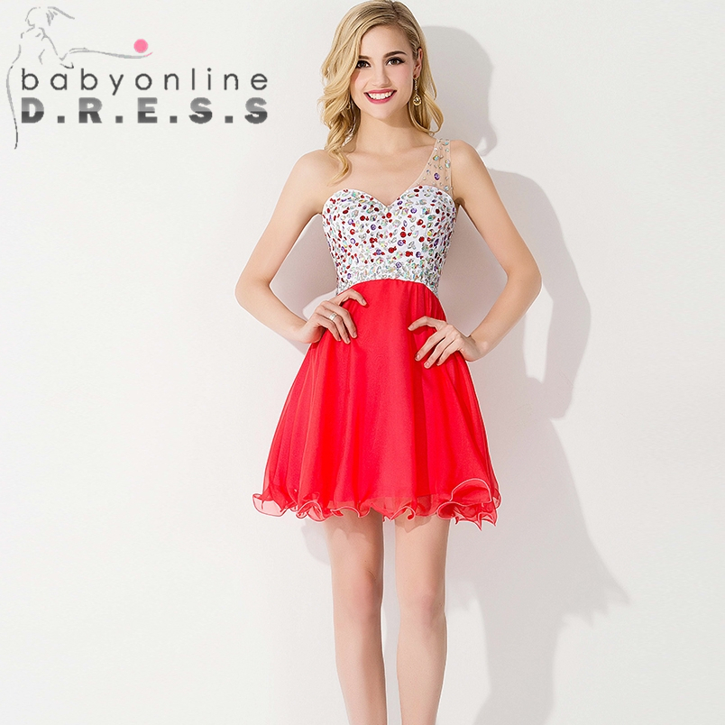 Aliexpress.com : Buy Coral Colored Prom Dress Beaded Short ...