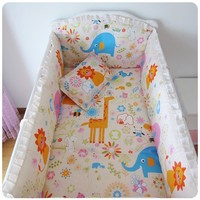 Promotion 8PCS Baby Nursery Comforter Cot Crib Bedding For Girl Bumper Sheet Pillow Cover
