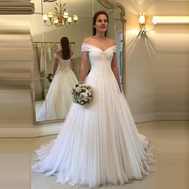 Off Shoulder Wedding Dresses Simple Tulle Vestido De Noiva