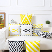 New nordic yellow geometric cushion cover black and white throw pillow case striped dotted grid triangular art