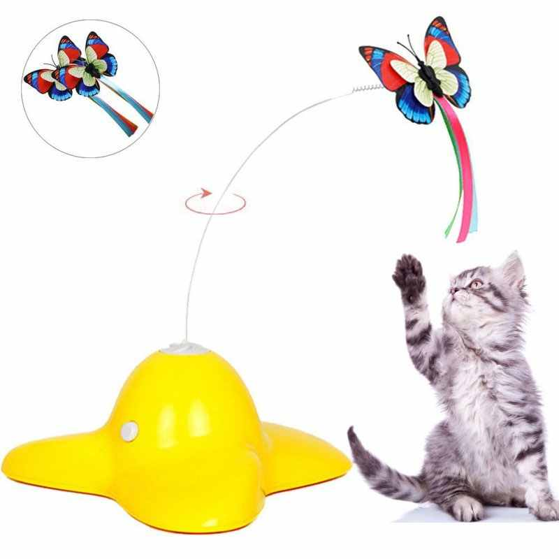 Pet Cat Toys Electric Rotating Butterfly Interactive Toy Two Replacement Flashing Butterflies Cat Toy Spinning Teaser Toys