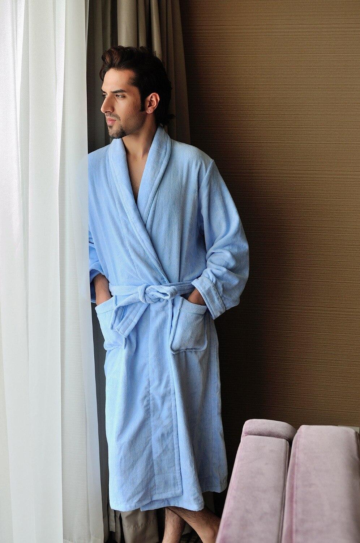 China made 100% cotton velour shawl collar blue bathrobe for men