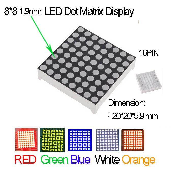 5pcs 3.75mm 8*8 8x8 Red Colour Red LED Dot Matrix Display Module Common Anode