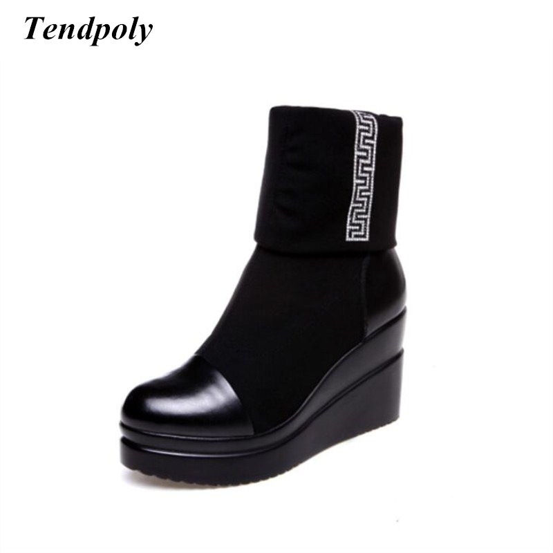 New fashion leather high-heeled boots autumn and winter elastic cloth thick warm boots women's hot wild was thin casual shoes autumn and winter new leather shoes with leather boots and boots with flat boots british classic classic hot wild casual shoes