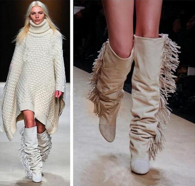 Ravrry Fringe Wedges Heel Solid Knee-High Flock Boots Hot Selling Round Toe Women Dress Winter Long Boots ravrry square heel solid knee high flock