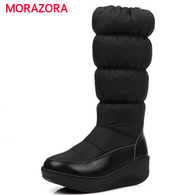 MORAZORA Russia Keep Warm Women snow boots zipper mid calf boots thick fur plush platform down wedges winter boots Size 35-44