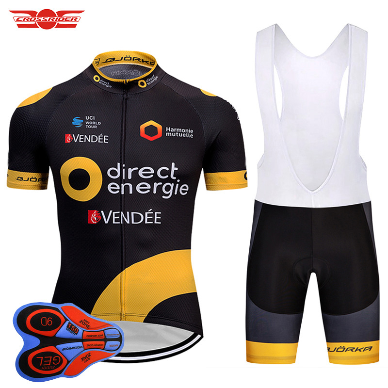 цена на Crossrider 2018 Pro Team France Cycling Jersey Men Short Cycling Uniform Set Ropa Ciclismo Bicycle Wear Clothing Maillot Culotte