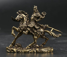 66MM/2.6 Collect Curio Rare Chinese Fengshui Small Bronze Exquisite Guan Gong Yu Riding War Horse Warrior God Statue 55g china post stamp collect sheet 2011 23 guan gong