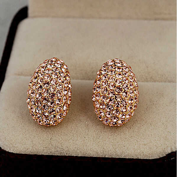 Luxurious Elegant Temperament OL Sparking Rhinestone  Champagne Color Crystal  Beatles Stud Earrings E97