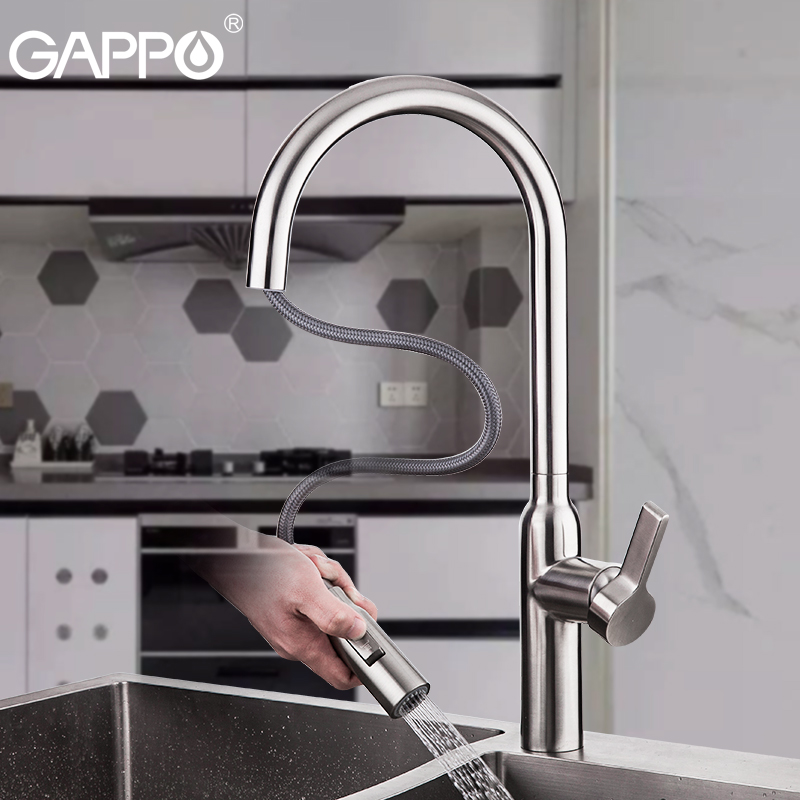 GAPPO Stainless Steel Kitchen Faucets Water Tap  Water Mixer Tap Flexible Kitchen Mixer Taps Deck Mounted Torneira Do Anheiro