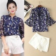 women runway set 2017 vintage bird floral print purple blouses and white shorts 2 pieces set