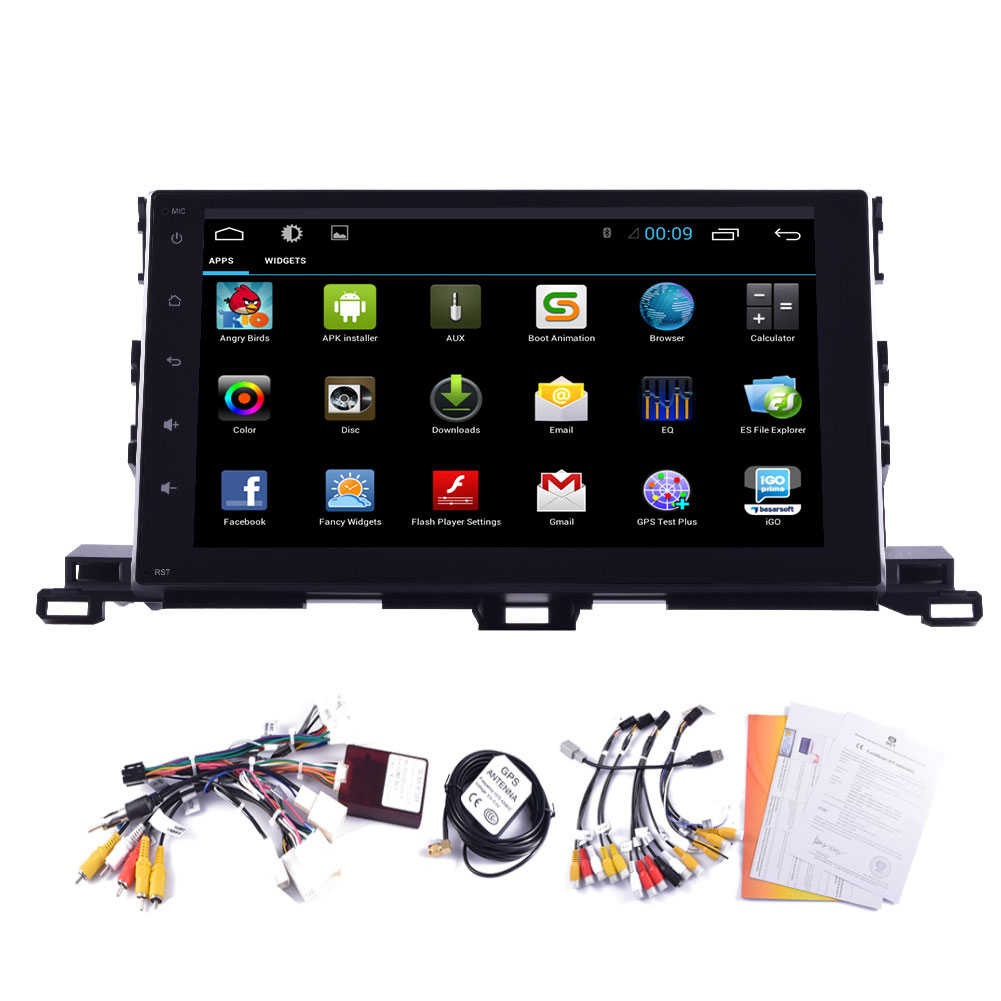 Android 4.4 Radio 10 HeadUnit RDS EQ OBD2 No-DVD Car Stereo Map Canbus Sub Navigator GPS Autoradio For Toyota Highlander 2015