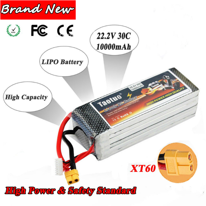 22.2V 10000mAh 6S 30C Lipo Battery With XT60 Plug For RC Helicopter Airplane extra spare floureon xt60 plug 14 8v 4200mah 30c battery for rc helicopter airplane boat model