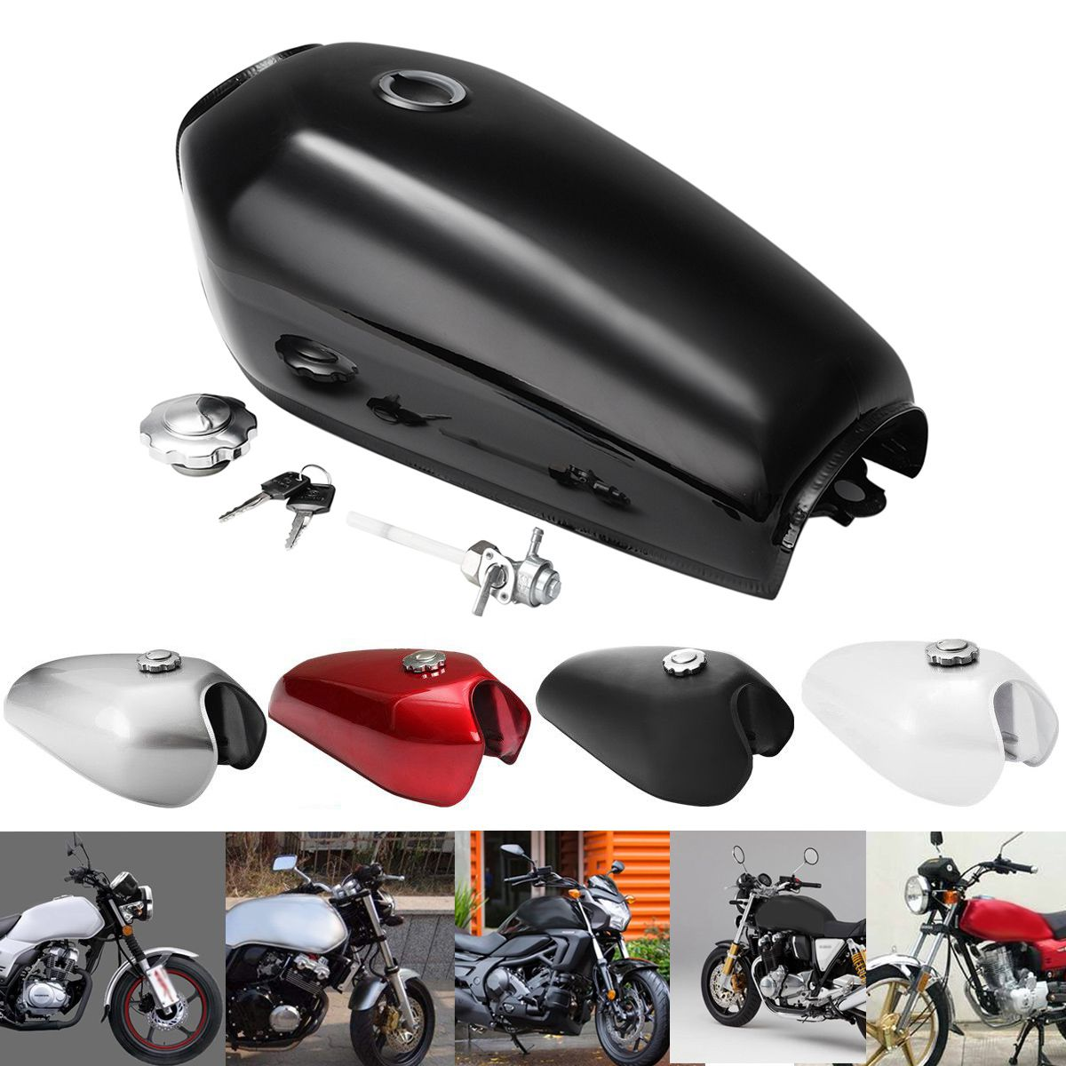 Motorcycle Cafe Racer Vintage Fuel Gas Tank With Tap Fit For Honda CG125 AA001 l r pillion foot peg for honda c70 ct90 cb125 cb200 cg110 cg125 jx110 jx125 xl250 xl350