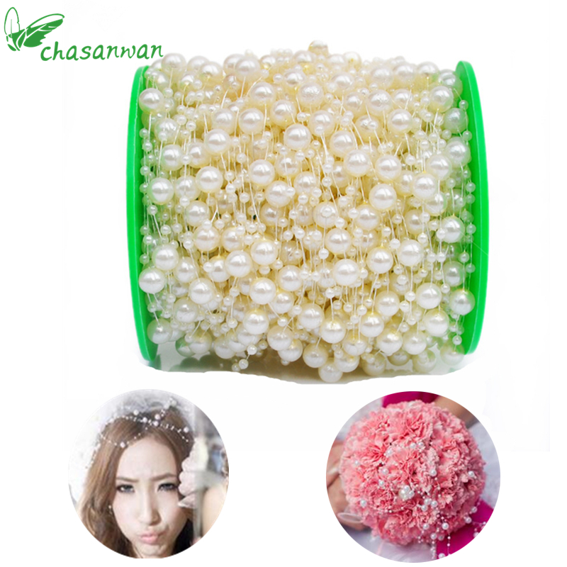 CHASANWAN 5 Meters Fishing Line Artificial Pearls Beads Chain Garland Flowers Wedding Decoration Event Party Supplies Navidad,T