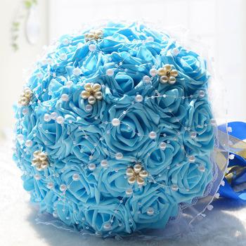 Perłowy niebieski kwiaty ślubne bukiety ślubne bukiet De Mariage sztuczne bukiety ślubne duży bukiet ślubny akcesoria tanie i dobre opinie Poliester LBKKC DRESSES
