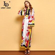 LD LINDA DELLA Autumn Fashion Loose Vacation Dress Women's Flare Sleeve Floral Printed Side slit Casual Elegant Maxi Long Dress цена и фото