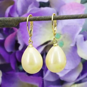 Joyería de moda pendientes de perlas de concha amarilla 12x16mm pendientes de gota de perla amarilla