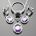 Lan Classic  Purple Amethyst 925 Silver Jewelry Sets  Necklace Pendant Earring Ring  For Wedding/Birthday/Party Free Shipping