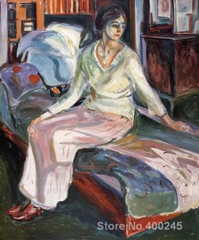 oil Painting Expressionism Model on the Couch Edvard Munch Hand painted High quality