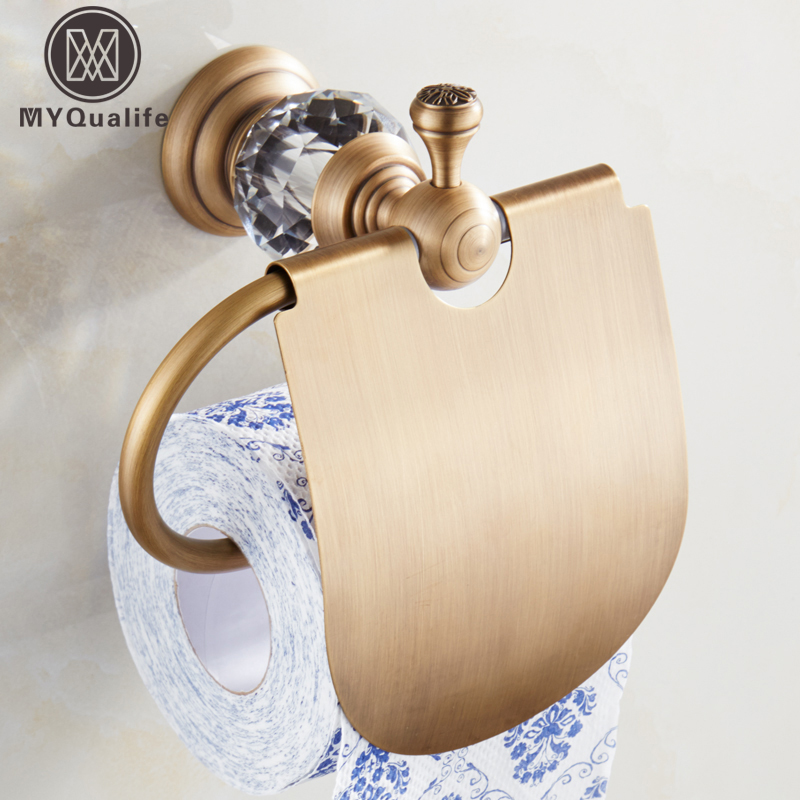 Good Quality Crystal Brass Bathroom Roll Paper Holder Bar Wall Mounted Antique Style with Cover Paper Tissue Rack бутербродница moulinex ultracompact sm 1541