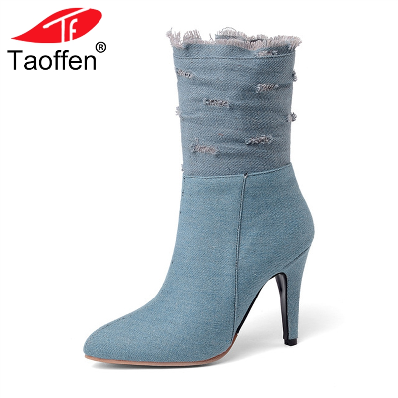 TAOFFEN Fashion Plus Size 28-50 Ripped Denim New Arrival Mid-calf Boots Women Winter High Heels Boots Woman Shoes Footwear plus size ripped pencil jeans