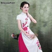 2019 summer aodai vietnam long cheongsam dress for women traditional clothing ao dai dresses oriental dress
