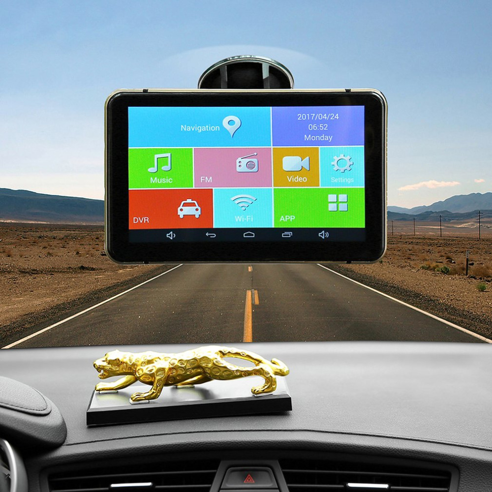 все цены на  7 Inch Car GPS Pianet Navigation Vehicle Traveling Data Recorder Smart For Android Bluetooth WIFI Support Rear View Camera Hot  онлайн