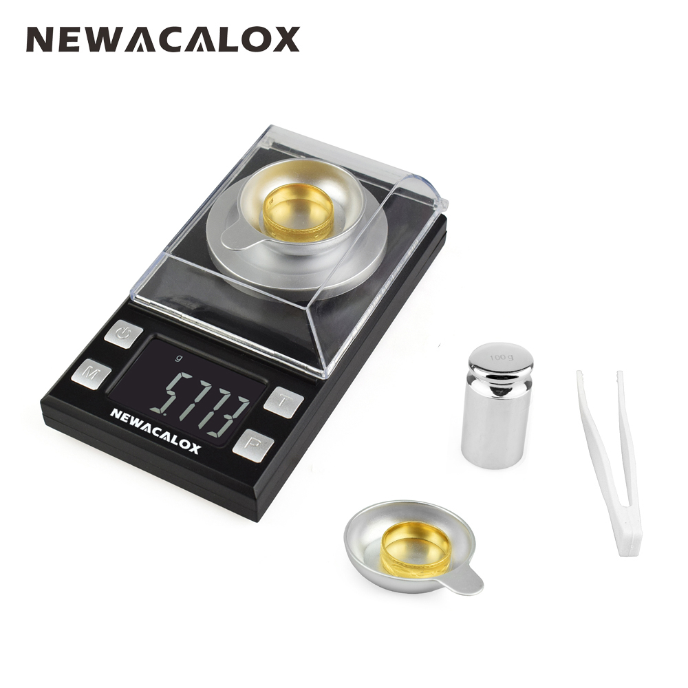 NEWACALOX 50g/0.001g Portable Mini Jewelry Scales Lab Weight High Precision Scale Medicinal Use LCD Digital Electronic Balance weiheng 50g 0 001g jewelry lcd digital scale lab weight milligram scale balance diamond carat electonic scales high precision