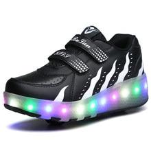 3767faf4 Дети Heelys светодиодные кроссовки с двумя колесами мальчик девочка двойной  два колеса роликовые коньки повседневная обувь
