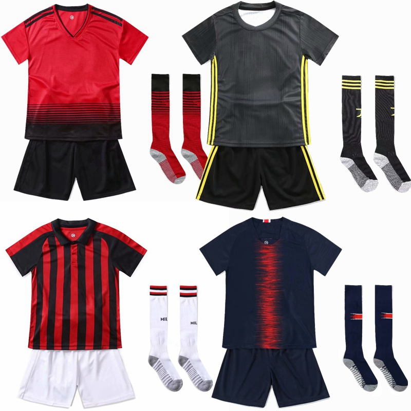 daef4c109 Boys Girls Sports Suit Youth Kids Football Training Set Customize Football  Jerseys