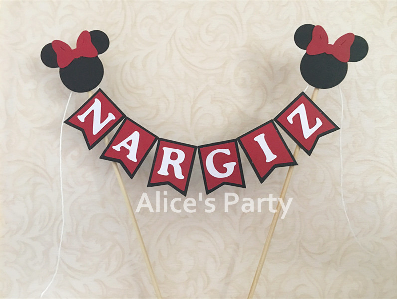 PERSONALISED BABY MICKEY MINNIE MOUSE CAKE BUNTING Banner Topper Decoration