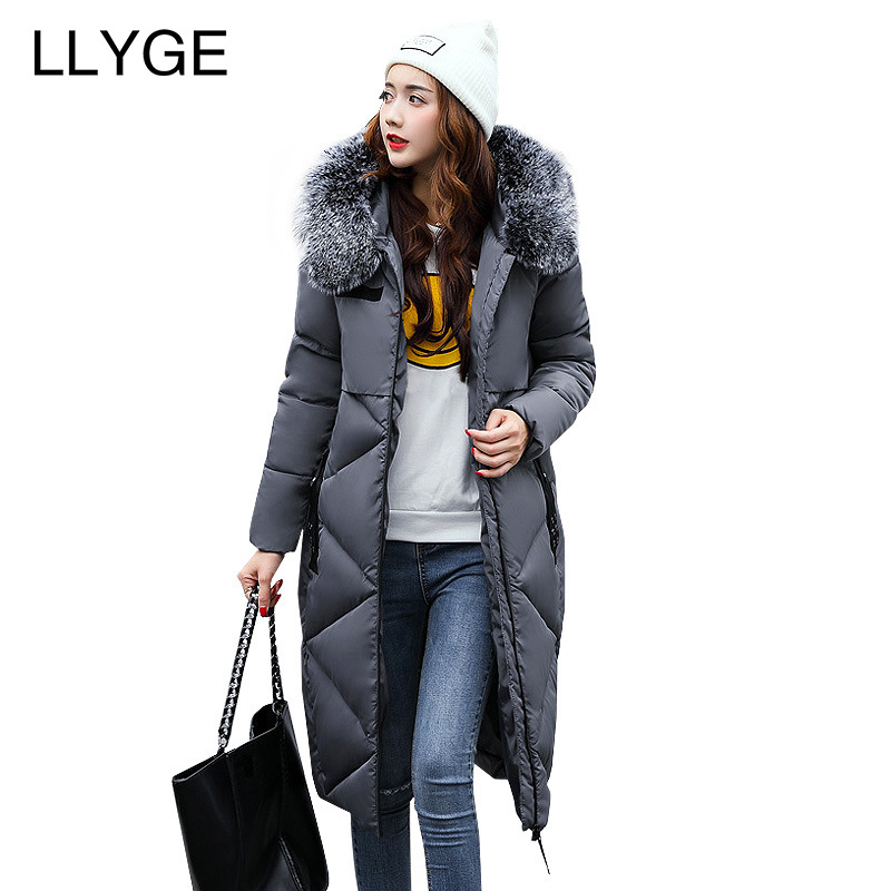 LLYGE Winter Jacket With Fur Collar Hooded Cotton Padded Long Puffer Coat Outwear Women Fashion Thickening Warm Parka Overcoat mcckle winter jacket with fur collar hooded cotton padded long puffer coat outwear women fashion thickening warm parka overcoat
