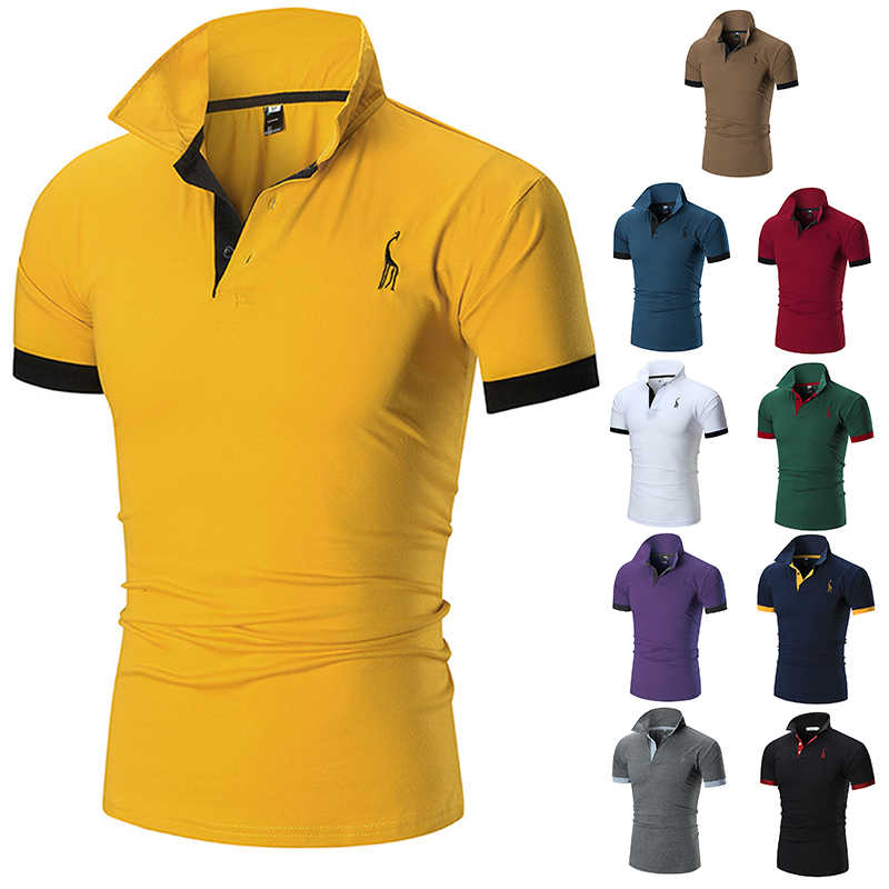 2019 Mens Polo Shirt Brands Male Short Sleeve Casual Slim Solid Color Deer Embroidery Polo shirtJerseys