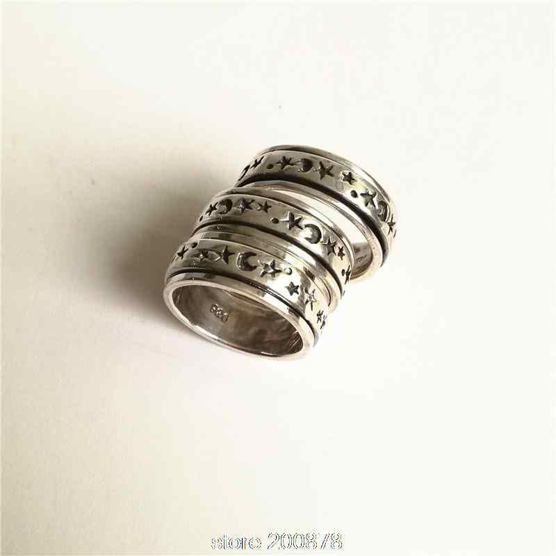 T9182 Непальские 925 пробы серебряные мужские кольца тибетское солнце Звезда Луна амулет Тотем близкий спин счастливые кольца