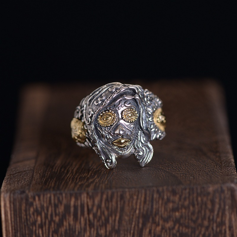 S925 Silver Vintage Craft Thai Silver Taro Mary Open Ring Mens RingS925 Silver Vintage Craft Thai Silver Taro Mary Open Ring Mens Ring