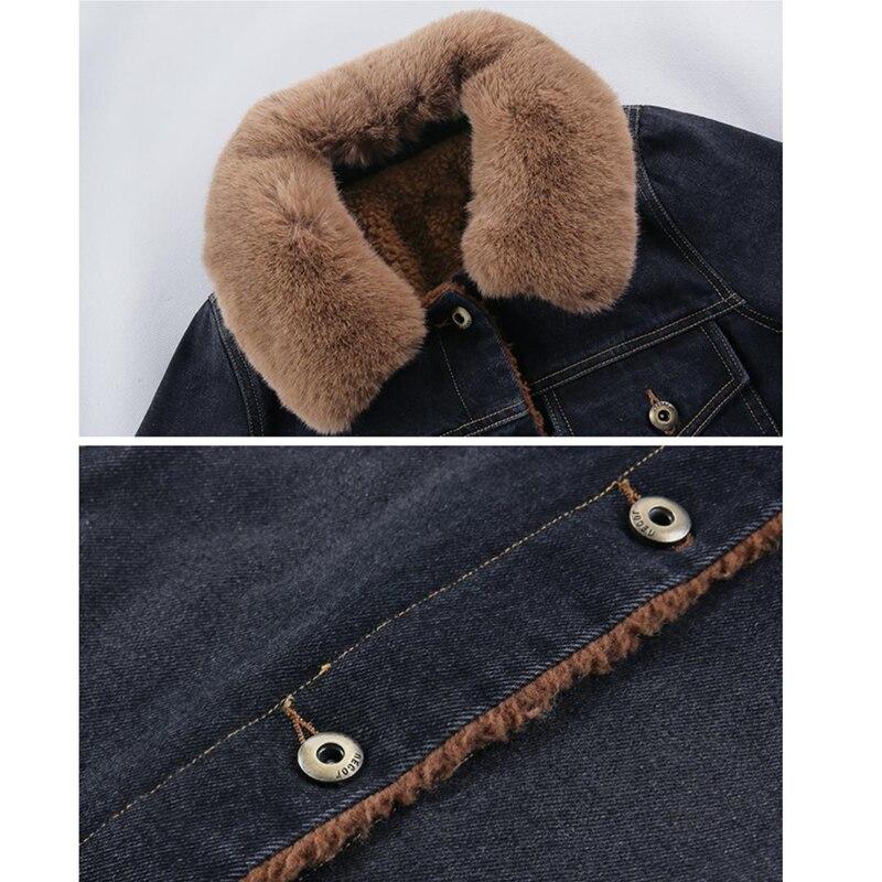 D'agneau Jeans Noir Grand Femmes Manteau De Denim Laine Fourrure Plus Qualité Hiver Haute Black Long Velours Col Veste Chaud xxZIq1